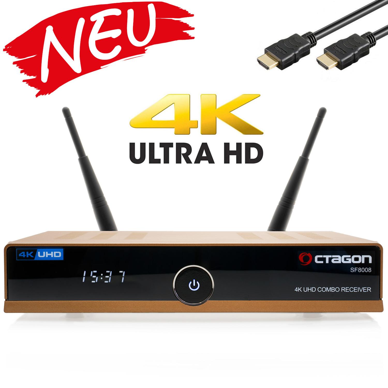 OCTAGON SF8008 UHD 4K Sat-Receiver DVB-S2X DVB-C/T2 Combo [HDR H.265 E2 Linux Dual Wifi] Gold Edition