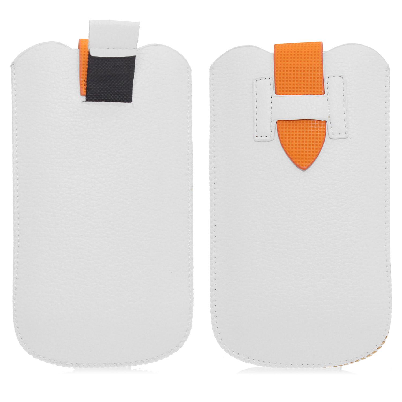 Handy Etui in weiss orange für Apple und Samsung