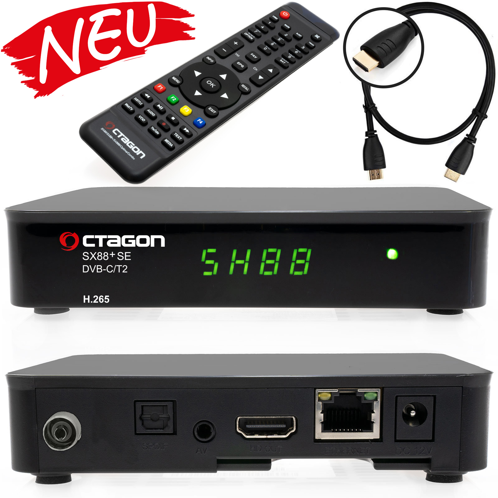 Octagon SX88+ SE H265 Multistream HD Kabel Receiver DVB-C/T2