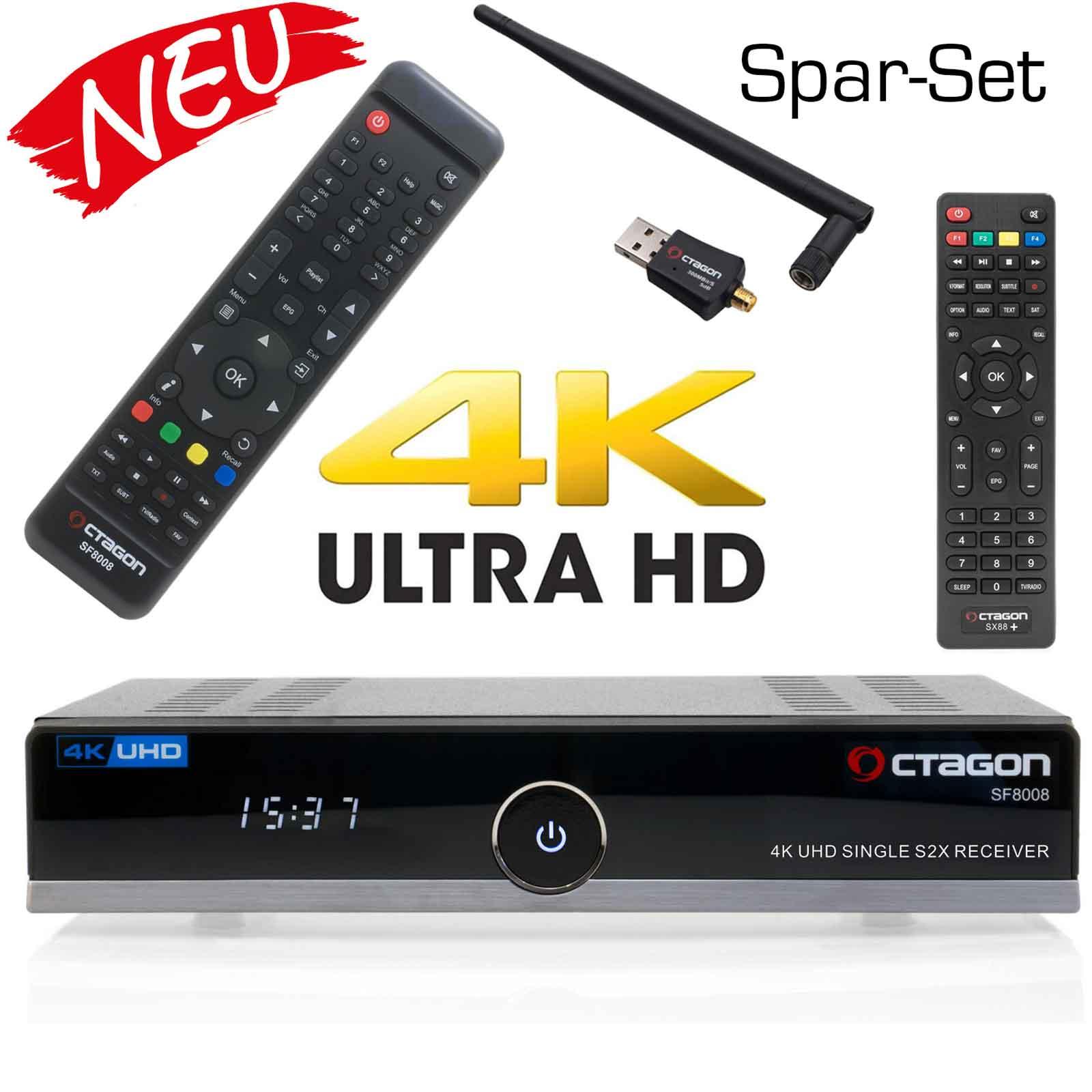 OCTAGON SF8008 4K UHD H.265 E2 Linux Dual Wifi DVB-S2x Single Receiver - Spar-Set