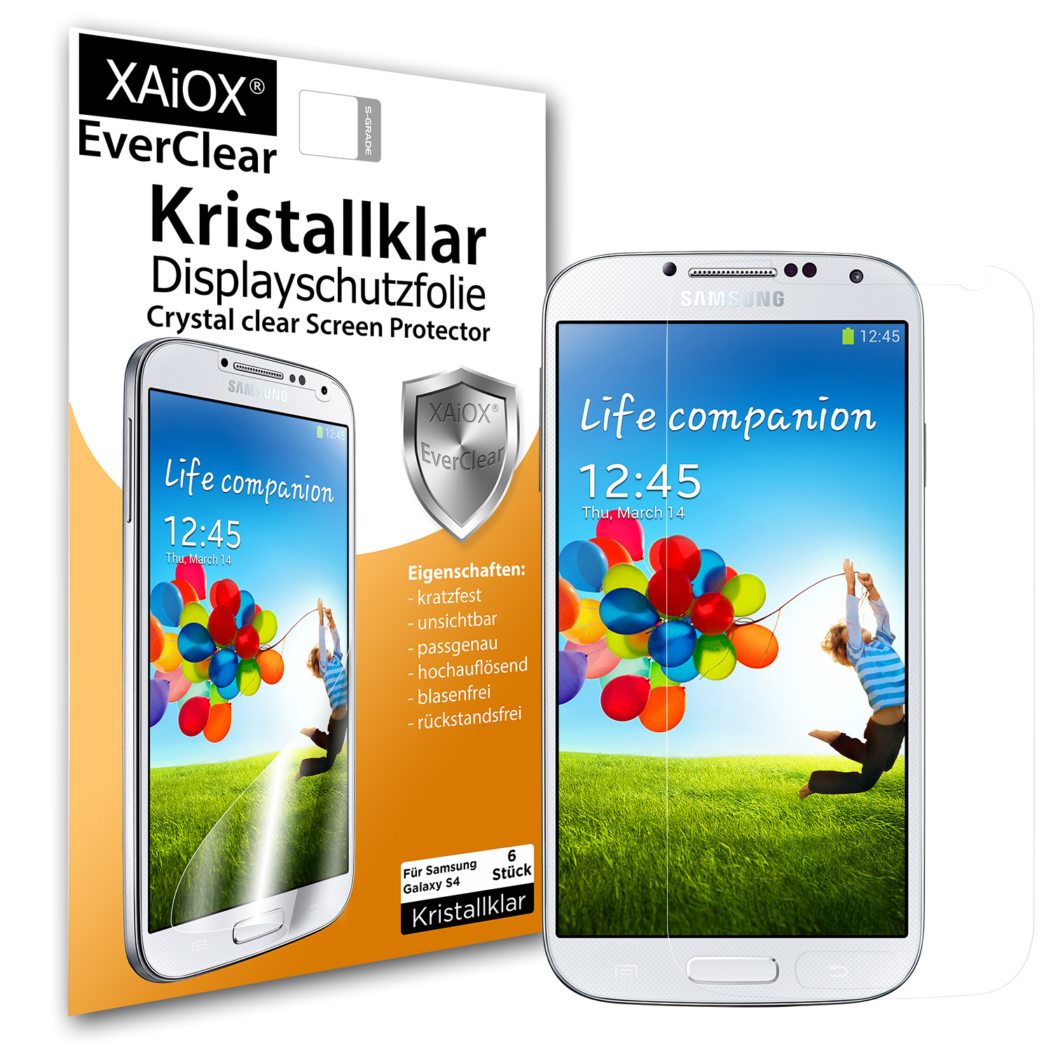 1 x XAiOX Everclear Displayschutzfolie für Galaxy S4 i9500 (6er Set)
