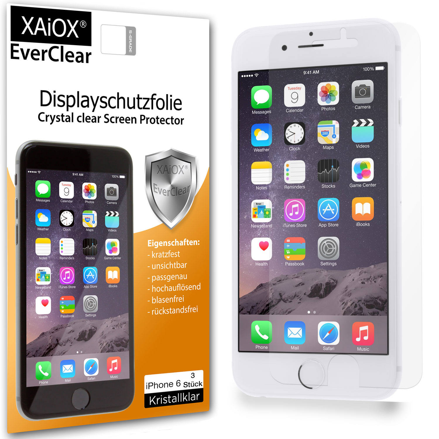 1x XAiOX Everclear Displayschutzfolie für iPhone 6 (3er Set)