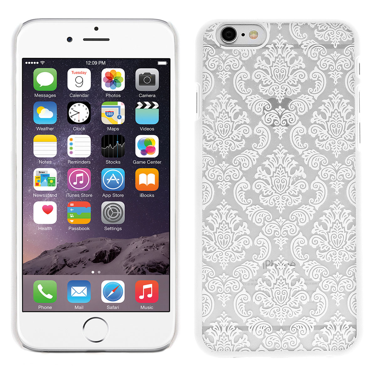 iPhone 6 Schutzhülle Embossed Blumen Paisley Muster(weiss)