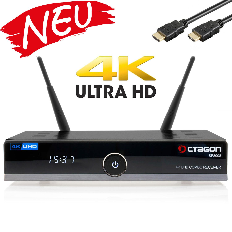 OCTAGON SF8008 UHD 4K Sat-Receiver DVB-S2X DVB-C/T2 Combo [HDR H.265 E2 Linux Dual Wifi]