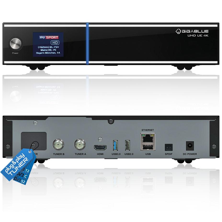 Gigablue UHD UE 4K 1xDVB-C2 & 2xDVB-S2 inkl. Wlan stick + 1000GB HDD