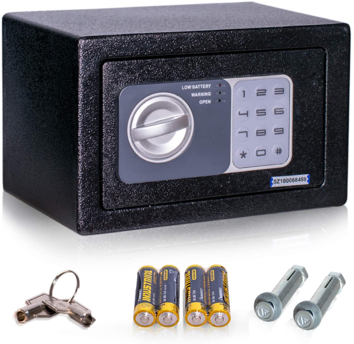 nadol Tresor Basic, Elektronischer-Safe mit Zahlenschloss und Schlüssel, Möbeltresor, Doppelbolzen Verriegelung, Mini-Tresor, Wandtresor, Stahl-Safe 14,8×22,8×17cm