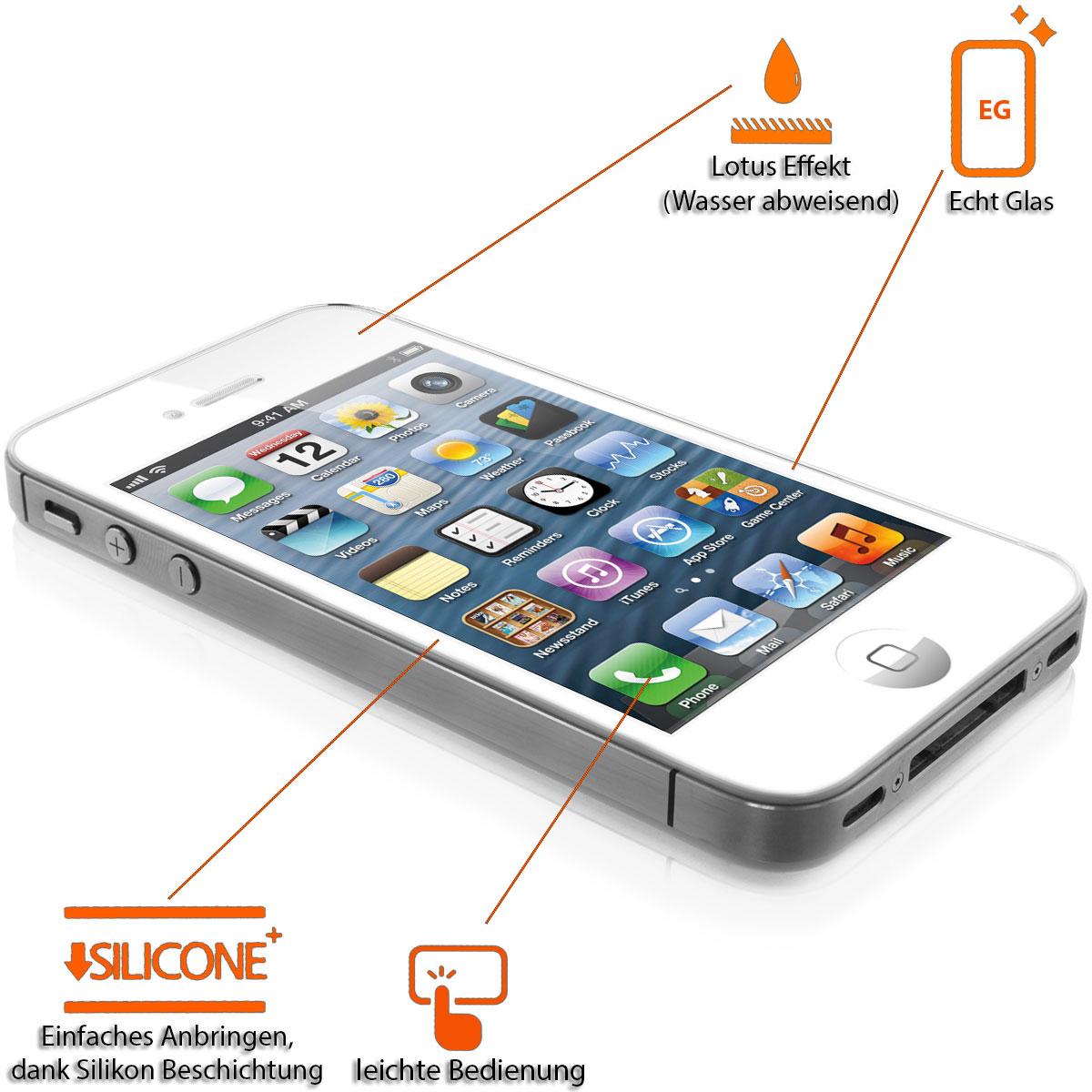 iPhone 4 Echt Glas Display Schutz 0,4mm Wasser Abweisend Lotus Effekt