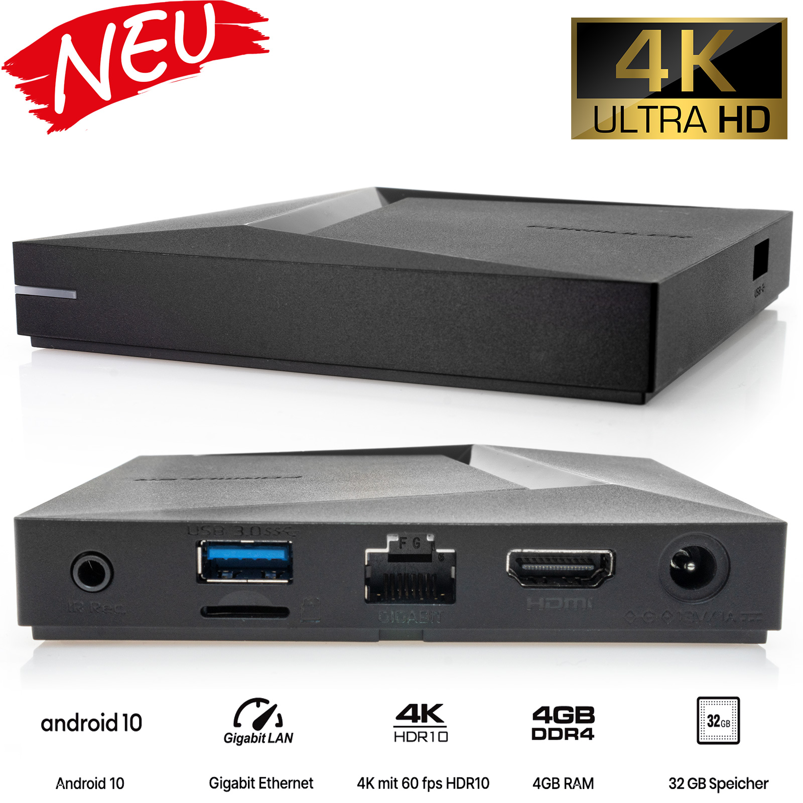 Formuler Z10 Pro Max 4K UHD Android IP-Receiver (HDR10, Bluetooth, WiFi, HDMI, USB 3.0, MicroSD)