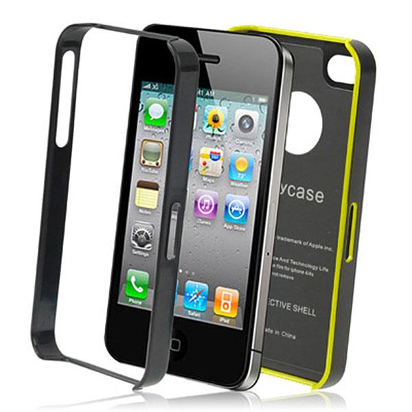 Apple iPhone Alu Case Aluminium Hülle - schwarz - gelb