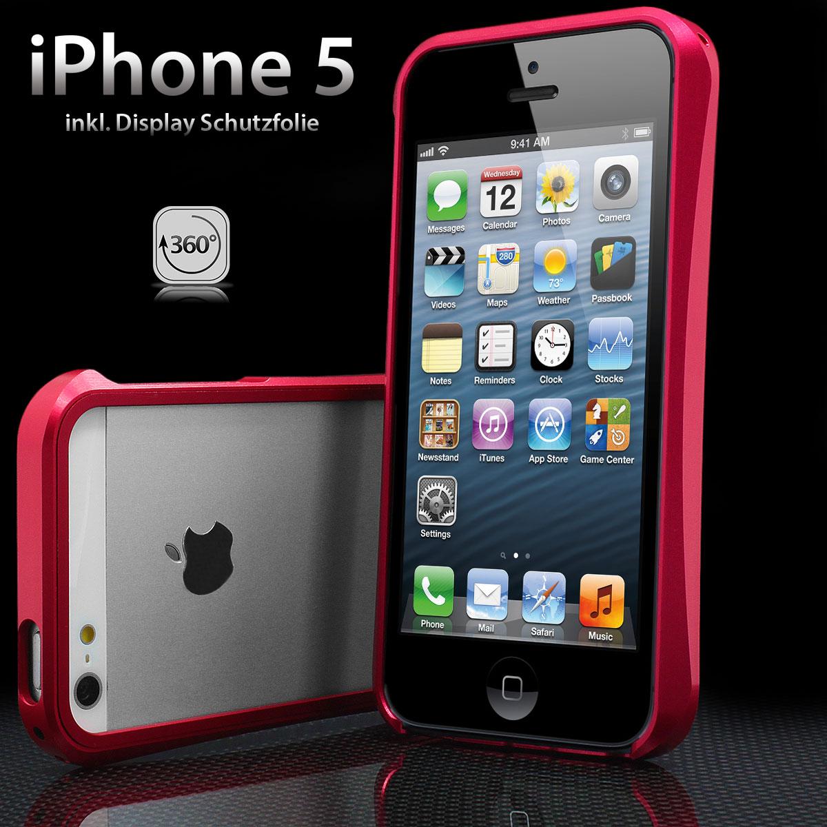 Apple iPhone 5 Aluminium Hülle Case Tasche Bumper Alu rot inkl. Folie
