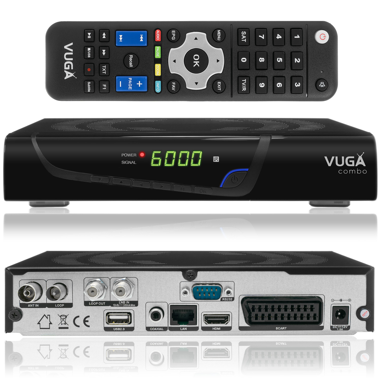 Vuga Combo Full HD Sat und Kabel Receiver DVB-S2 DVB-C/T2 Receiver H.265 USB WLAN