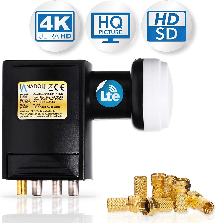 Anadol Premium Unicable LNB Unikabel 4 für Satellit + 3 Legacy 7-Fach-LNB - 40mm für HD HDTV - LTE-Abschirmung - LNB für 7 Teilnehmer - 0,1dB - siebenfach-LNB, Wetterschutz