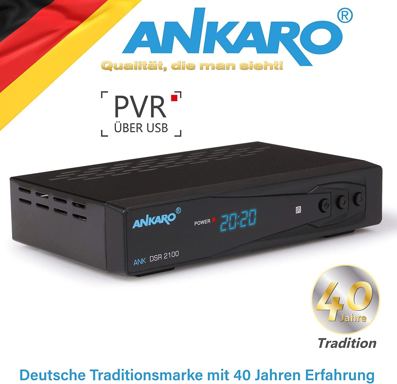 Ankaro DSR 2100 Plus HD HDTV digitaler Satelliten-Receiver (HDTV, DVB-S/S2, SAT, HDMI, SCART, 1x USB 2.0, Easyfind, Full HD 1080p) [vorprogrammiert für Astra Hotbird]  – schwarz