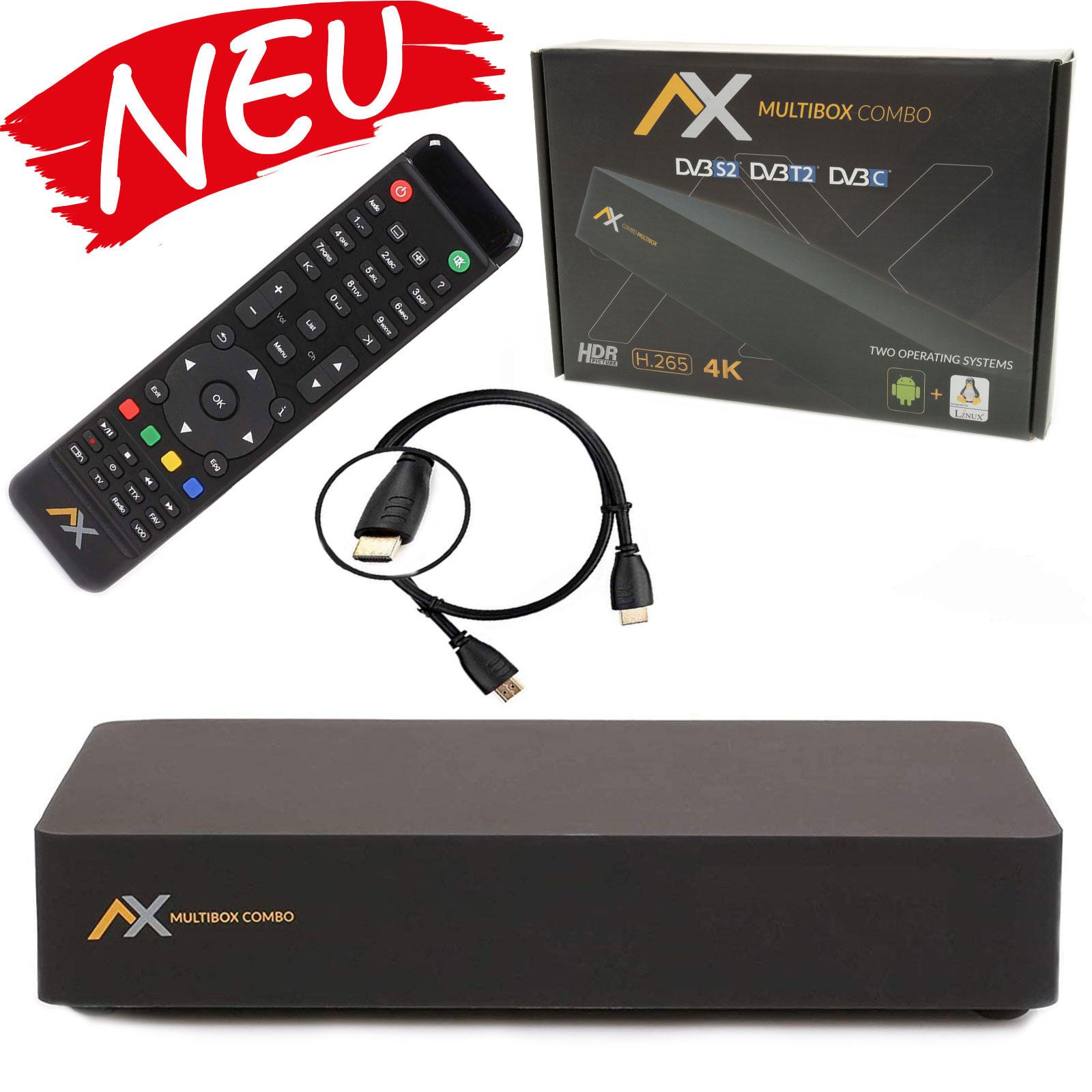 AX Multibox 4K UHD E2 Linux Combo Sat- Kabel- DVB-T2 Receiver