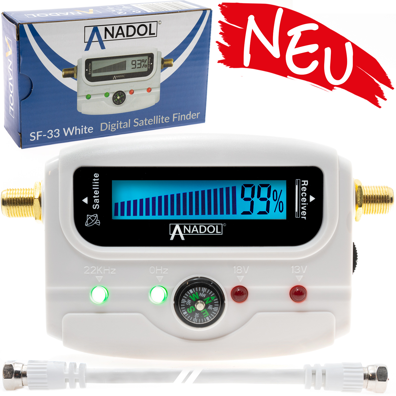 Anadol SF33 SATFINDER mit Display & Ton & Kompass Weiß