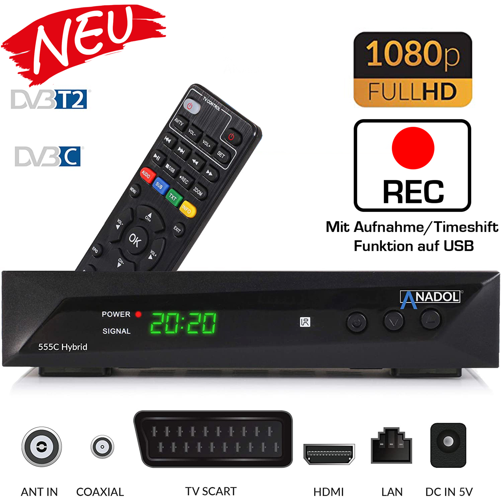 Anadol ADX 555c HD 1080p Kabel DVB-C2 Receiver