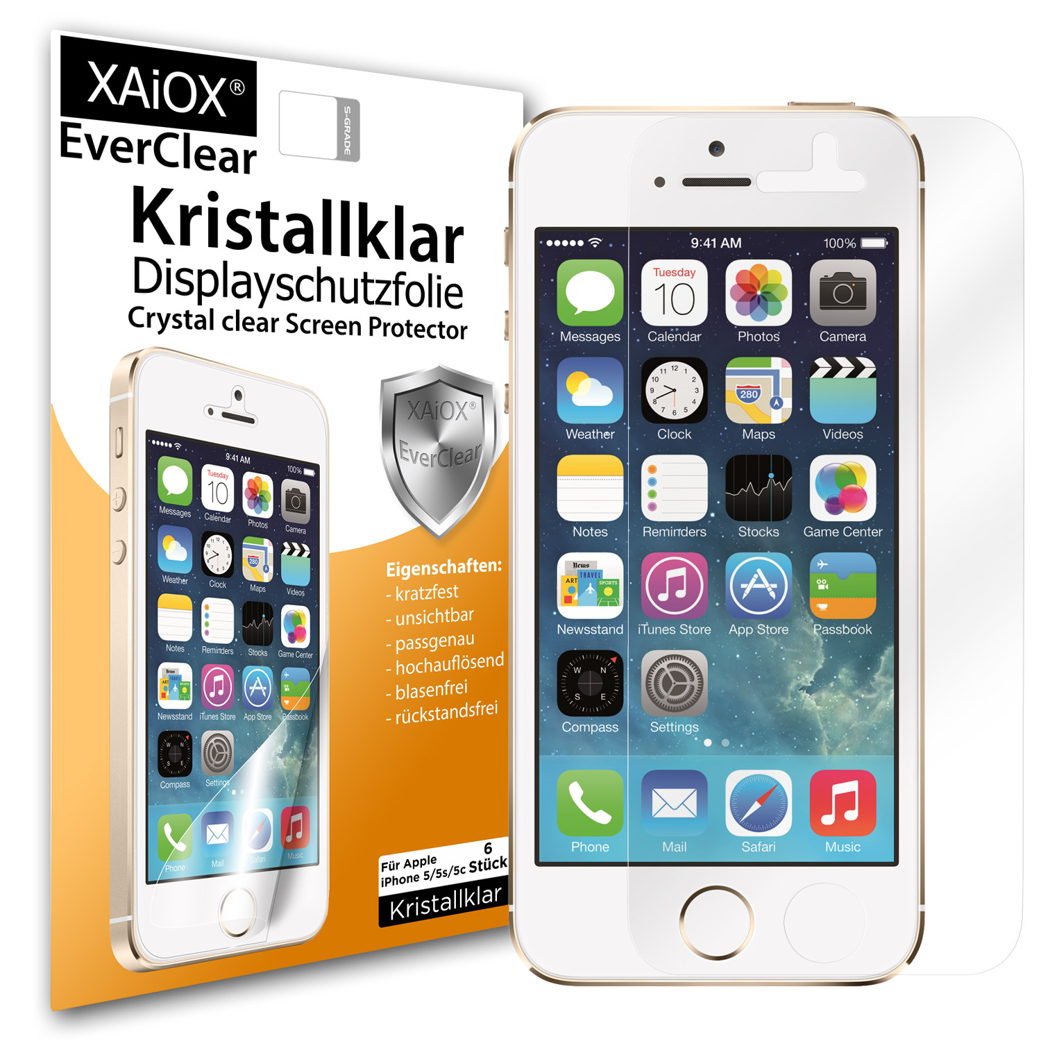1 x XAiOX Everclear Displayschutzfolie für iPhone 5s 5c 5 (6er Set)