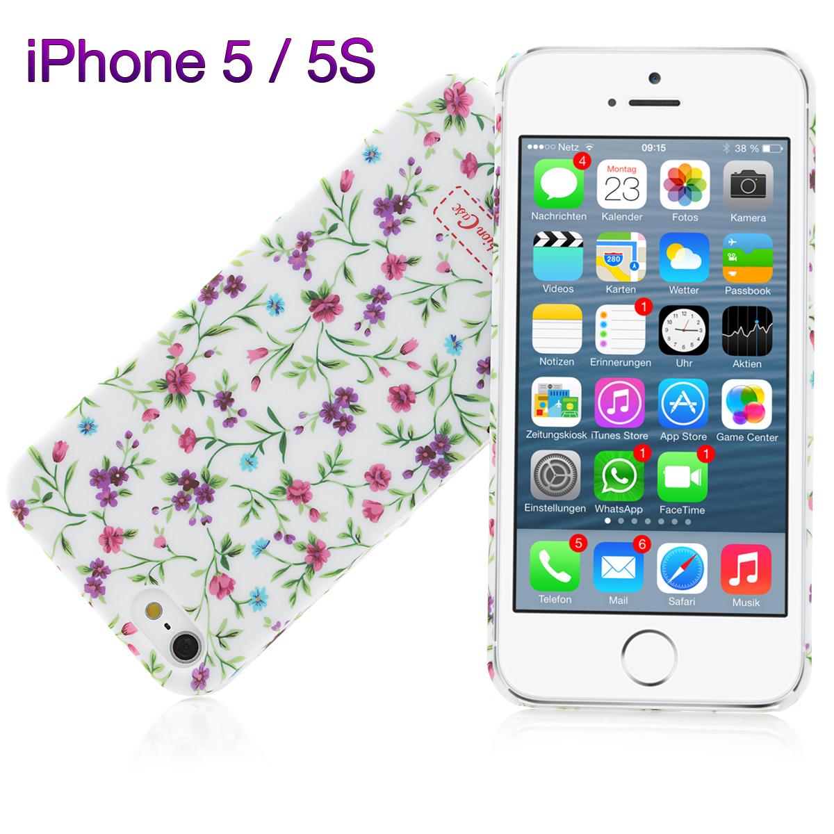 iPhone 5 TPU Silikon Handyhülle Bumper Case Handytasche Blumen
