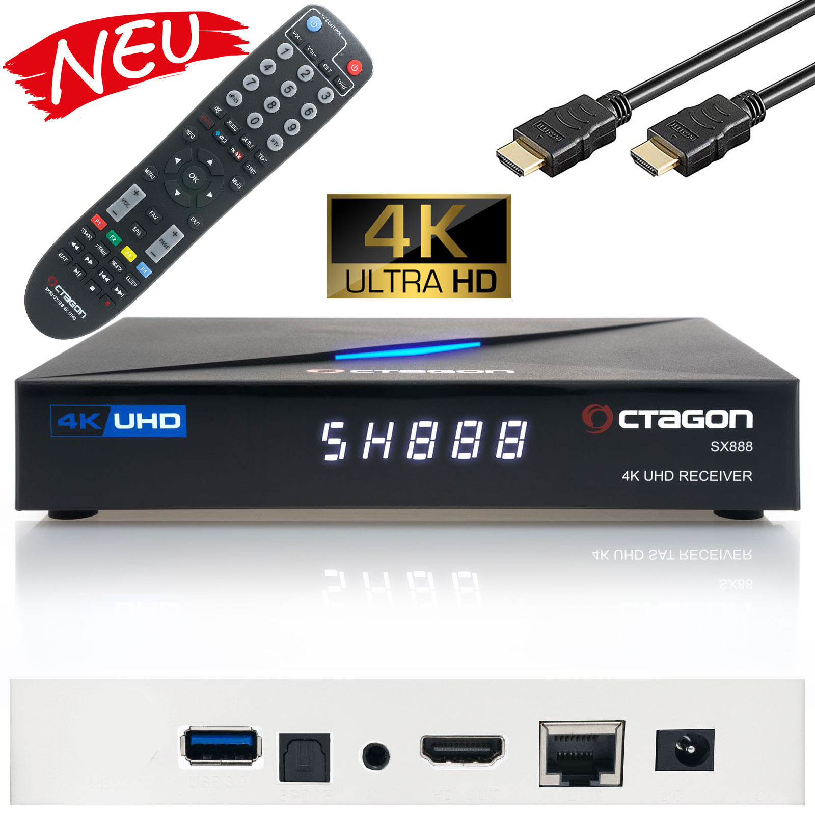 Octagon SX888 4K Ultra HD IP HDMI USB H.265 Stalker IPTV Receiver Schwarz