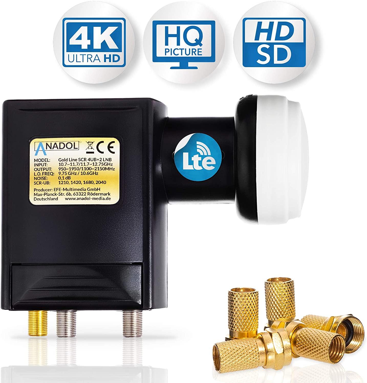 Anadol Premium Unicable LNB Unikabel 4 für Satellit + 2 Legacy 6-Fach-LNB - 40mm für HD HDTV - LTE-Abschirmung - LNB für 6 Teilnehmer - 0,1dB - sechsfach-LNB, Wetterschutz