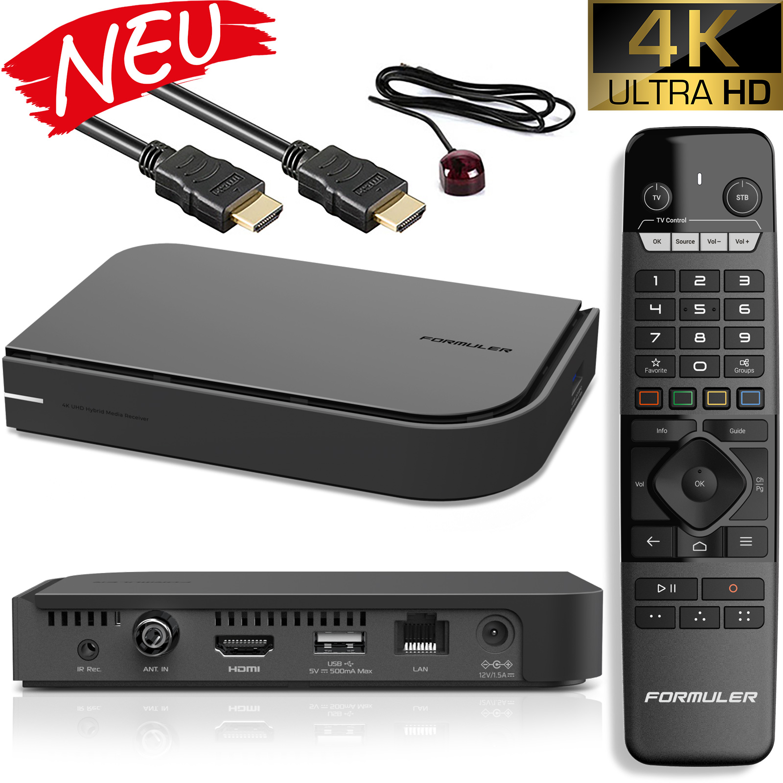 Formuler CC 4K UHD TV IP 2.4/5GHz Dual WiFi Android 7.0 Mediaplayer mit DVB-T/C Hybrid Tuner Schwarz