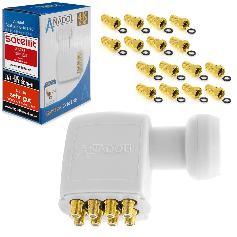Anadol Gold Line OCTO LNB 4K LNC 8 Teilnehmer 0.1dB Direkt 8fach FULL HD TV 3D 4K + Kontakte vergoldet + Wetterschutz (ausziehbar) im SET mit 16 F-Stecker vergoldet GRATIS