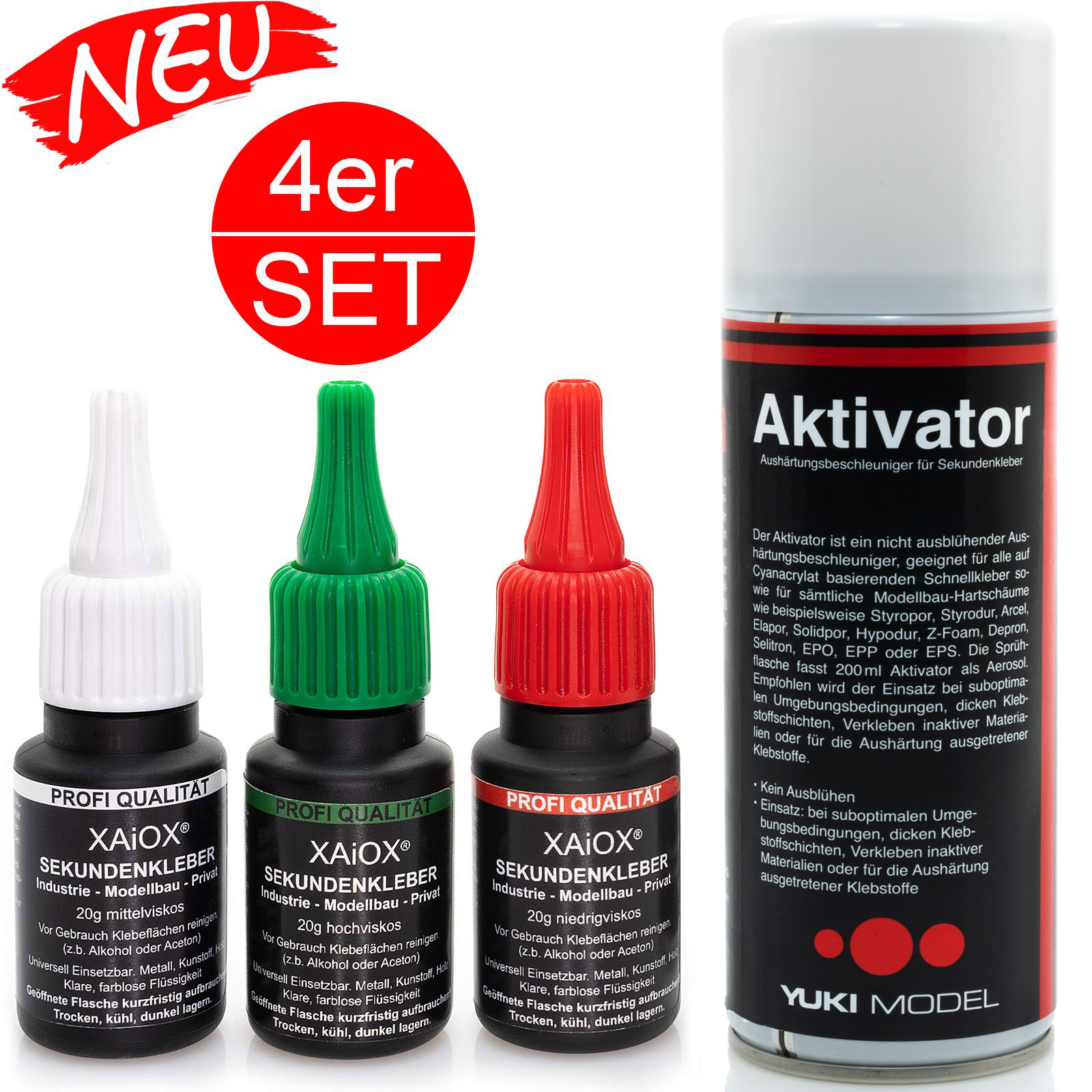 Profi 4er Set - 3x Sekundenkleber dünnflüssig, mittelflüssig, dickflüssig je 20g extrem stark mit Patent-Verschluss + Aktivator Spray