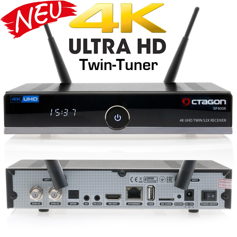OCTAGON SF8008 4K UHD H.265 E2 Linux Dual Wifi Twin 2x DVB-S2X Receiver