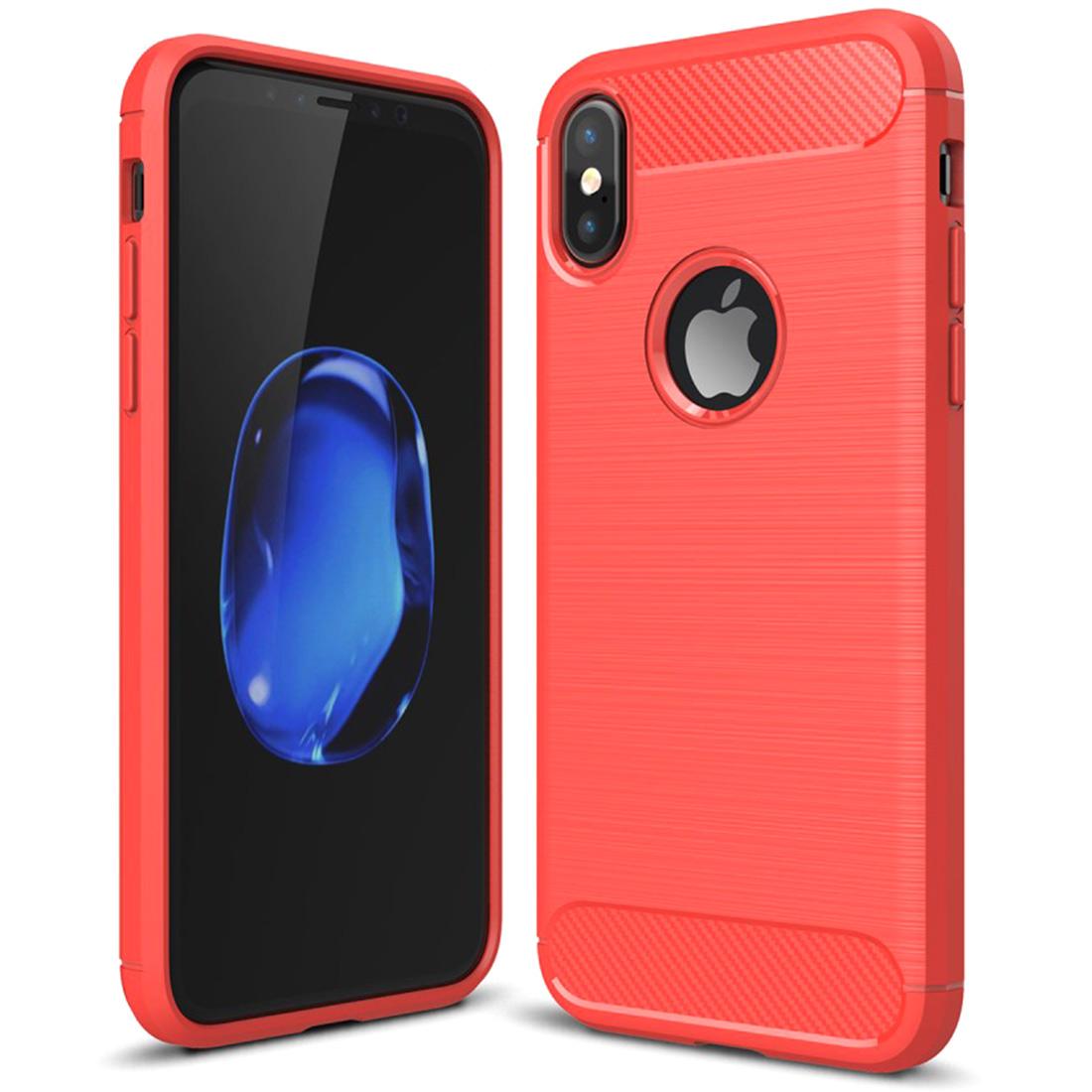 Carbon Optik Schutzhülle für iPhone X - rot