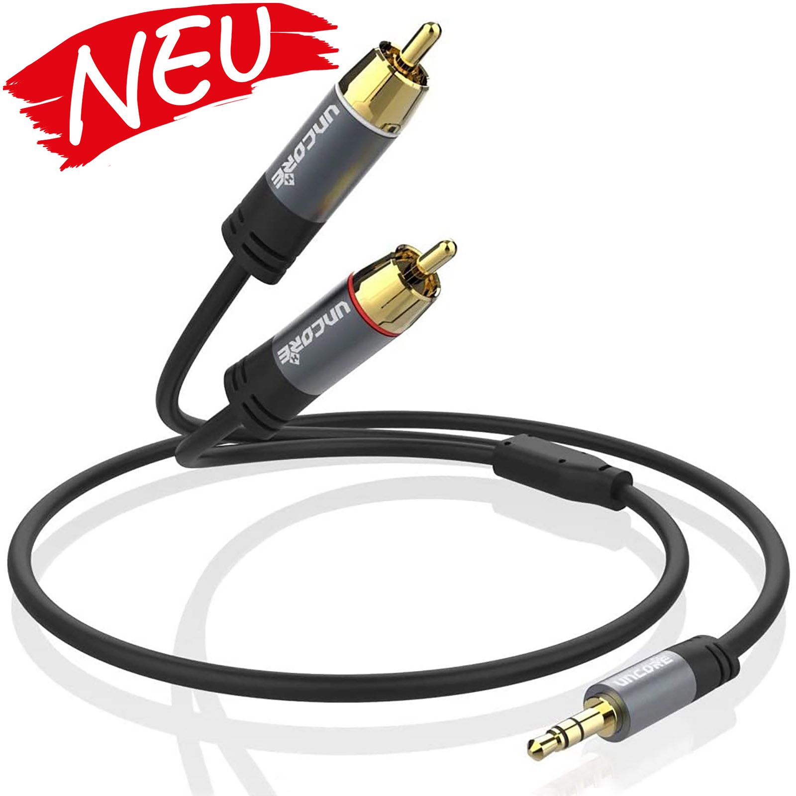 Uncorex  Cinch Kabel 3,5mm Klinke auf 2X RCA Chinch Stecker Y Splitter Cinch auf Klinke Stereo Audio Aux Kabel (24K Vergoldet) - 1M