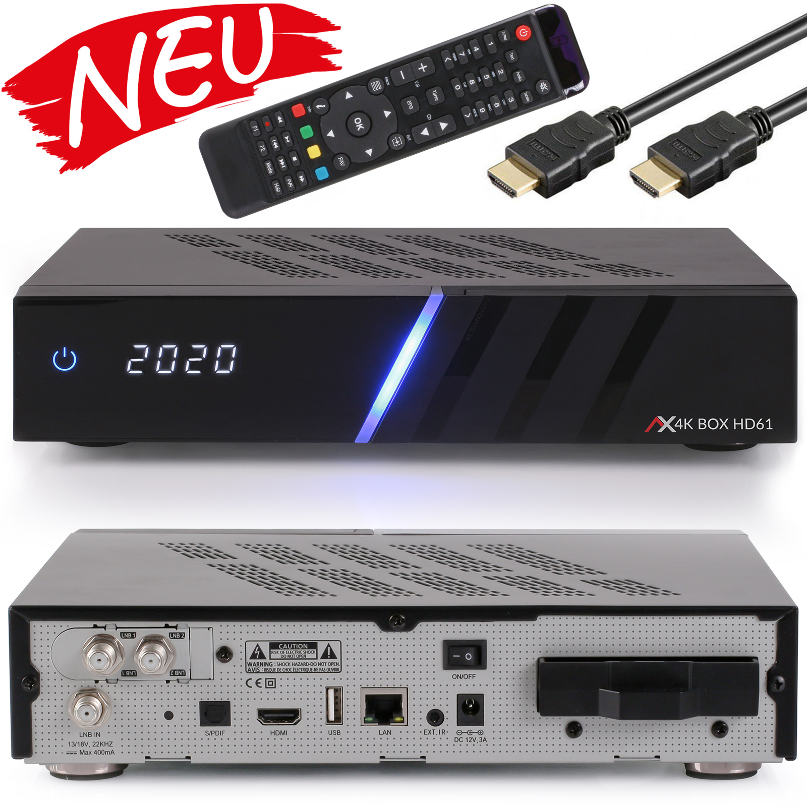 AX 4K-BOX HD61 UHD 2160p E2 Linux 2xDVB-S2 Receiver, ohne HDD